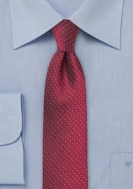 Cherry Red Skinny Tie with Light Blue Dots