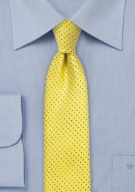 Skinny Pin Dot Tie in Bright Yellow and Navy