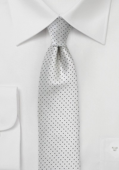 Formal Skinny Pin Dot Tie in Silver and Black