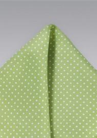 Light Sage Color Pocket Square with Dots
