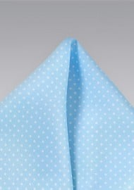 Baby Blue Pocket Square with White Dots