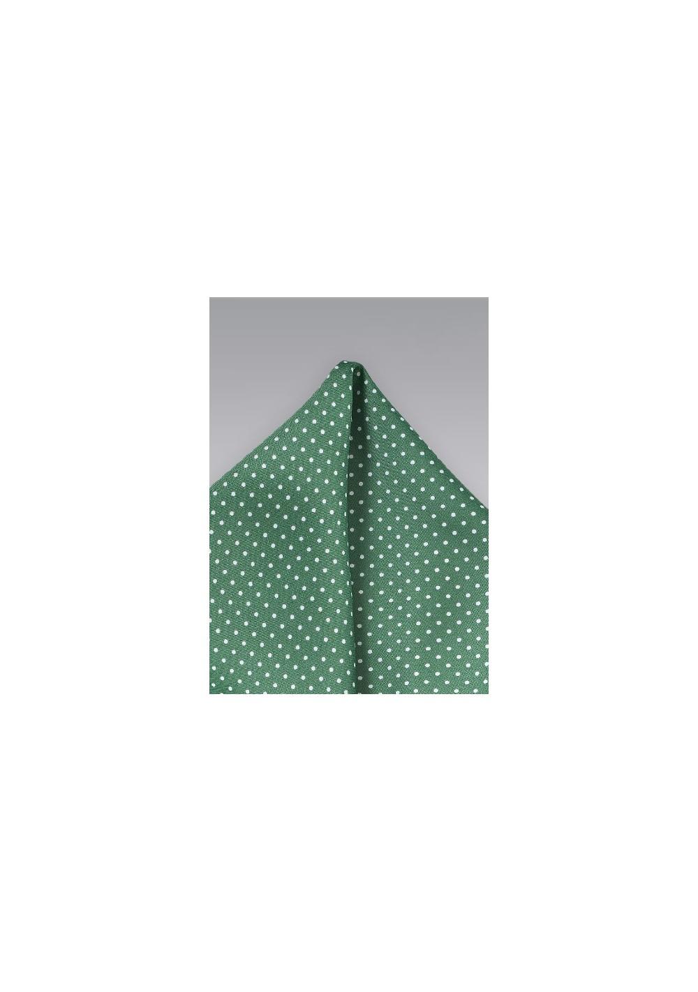 Hunter Green Dotted Pocket Square