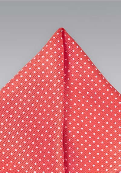 Pin Dot Pocket Square in Coral Red