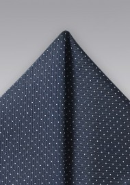 Midnight Blue and Silver Pocket Square