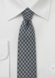 Gray Dogstooth Men's Necktie in Skinny Cut