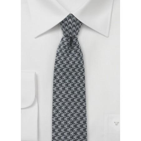 Gray Dogstooth Men's Necktie in Skinny Cut