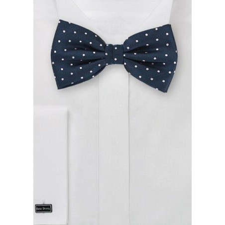 Polka Dot Bow Tie in Navy and Silver