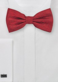 Formal Silk Bow Tie in Red with Paisleys