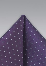 Polka Dot Pocket Square in Purple and Silver