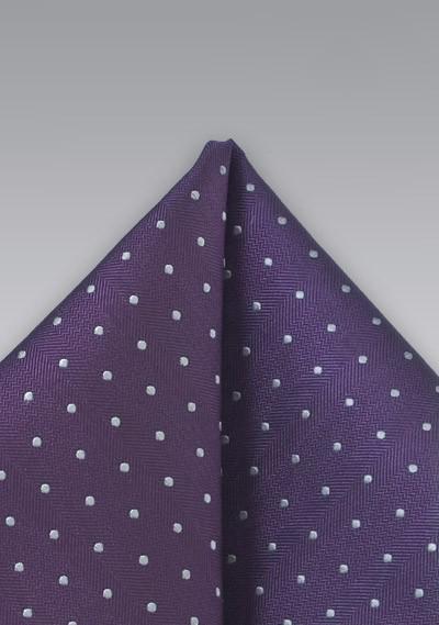 Polka Dot Pocket Square in Purple and Silver