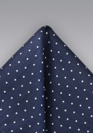 Woven Silk Pocket Square in Navy and Silver