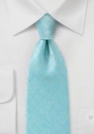 Light Aqua Textured Tie in Extra Long Length