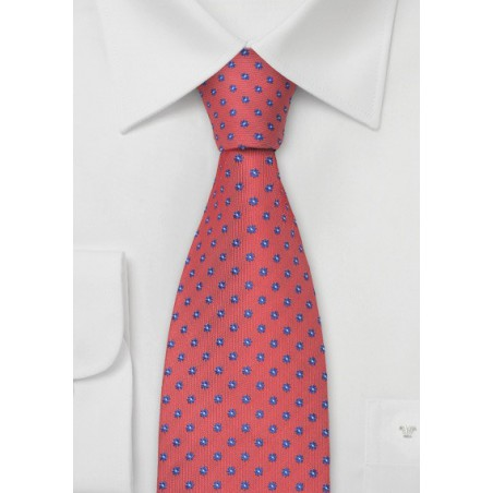Coral-Red Floral Silk Tie for Kids