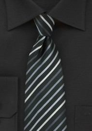 Kids Necktie in Black with Silver Stripes