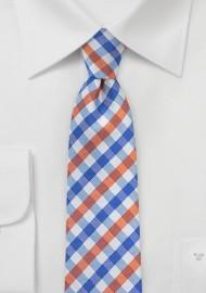Preppy Gingham Tie in Blue and Orange