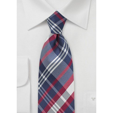 Elegant Silk Tie with Blue and Red Tartan Plaid Design