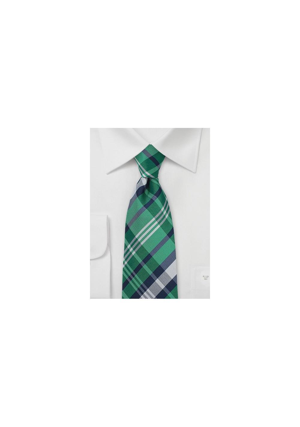 Scottish Tartan Plaid Tie in Green and Navy