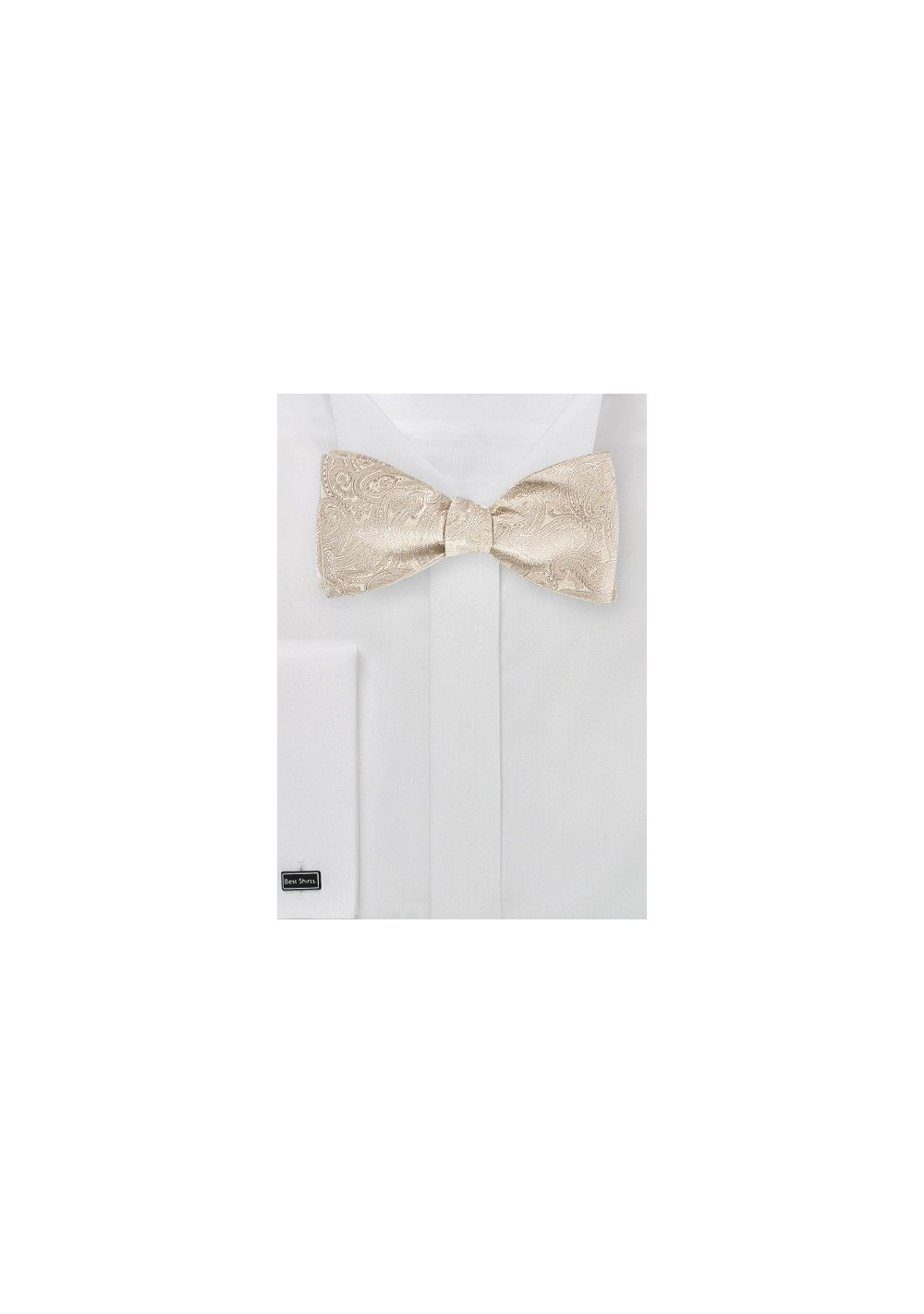 Light Cream Colored Paisley Bow Tie (self tie)