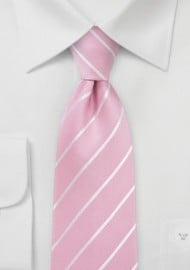 Flamingo Pink Striped Silk Tie
