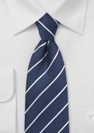 Pencil Stripe Silk Tie in Navy
