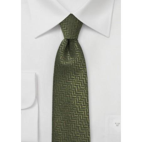 Olive Green Herringbone Skinny Tie