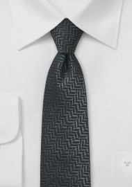 Black Herringbone Wool Tie