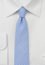 Slim Houndstooth Tie in Pastel Blue
