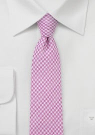 Pink Houndstooth Skinny Tie in Cotton Blend