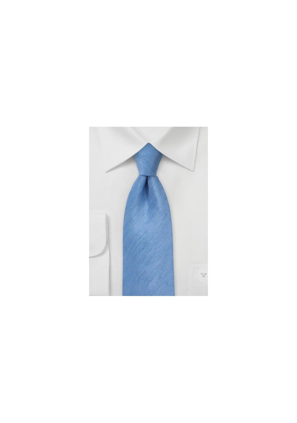 Woven Herringbone Linen Tie in Light Blue