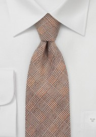 Designer Glen Check Tie in Burnt Orange