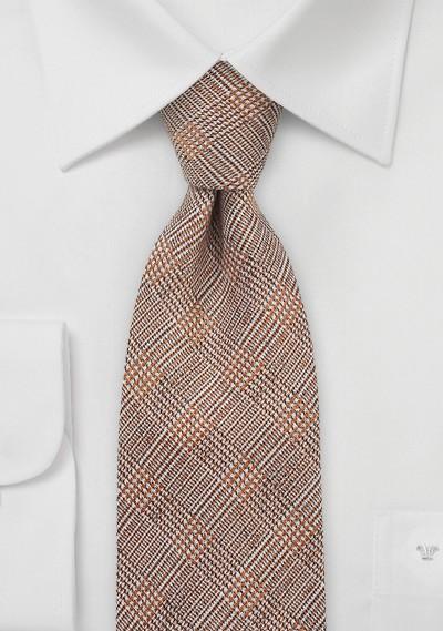 Designer Glen Check Tie in Burnt Orange
