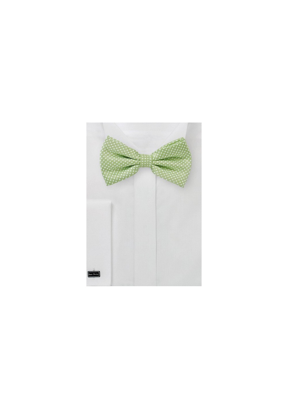 Pin Dot Bow Tie in Sage Green