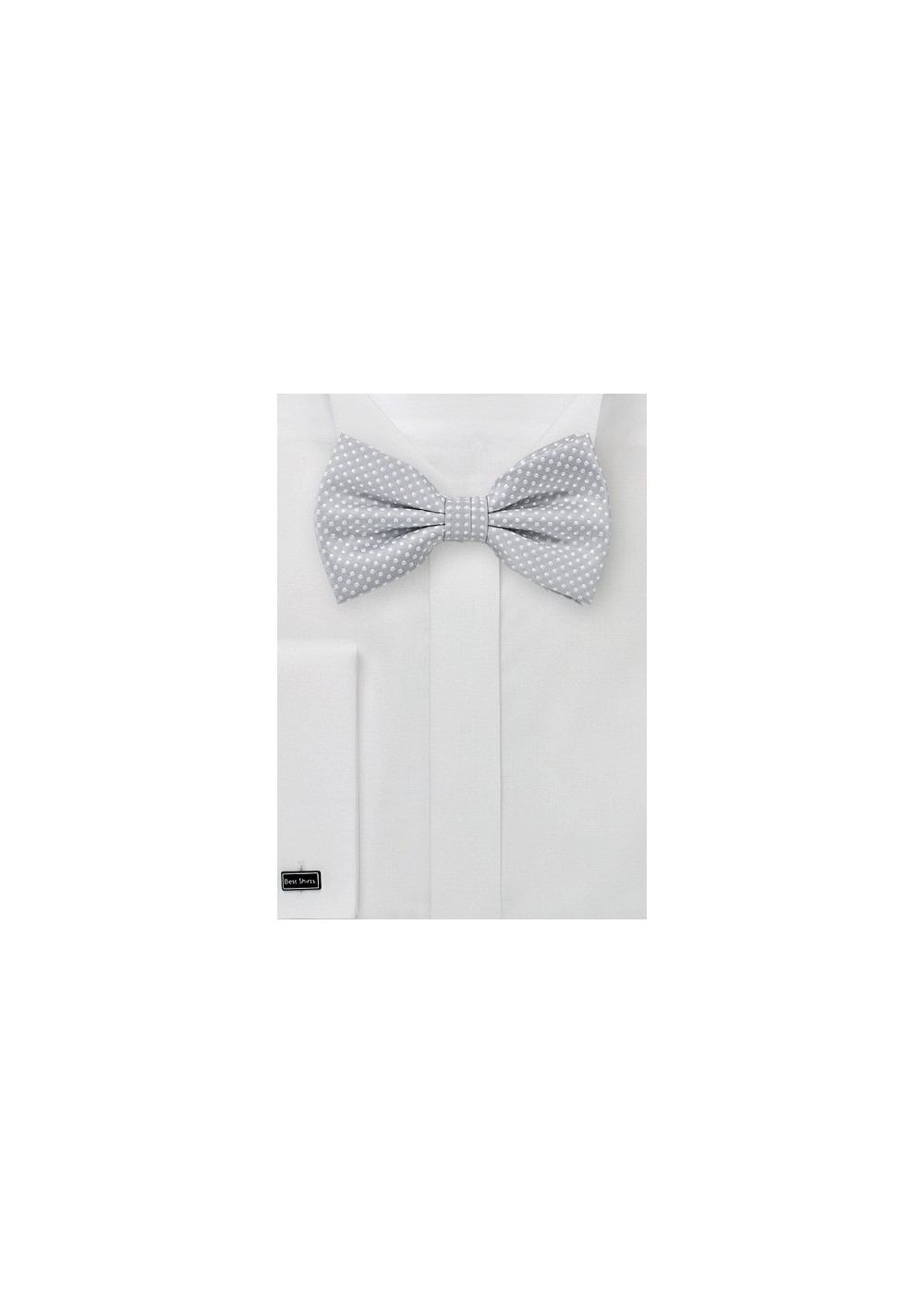 Pin Dot Bow Tie in Silver and White
