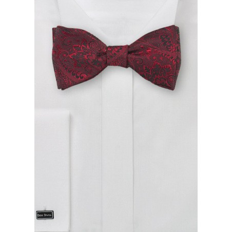 Cherry Red Paisley Bow Tie