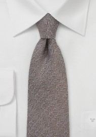 Autumn Wool Tie in Brown with Herringbone Weave