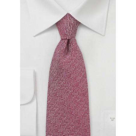 Autumn Red Wool Tie with Herringbone Design