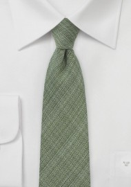 Chambray Skinny Wool Tie in Olive Green
