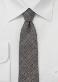 Chambray Skinny Tie in Espresso Brown