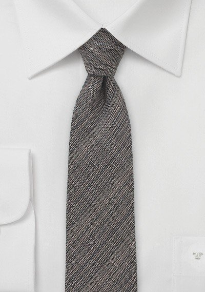 Chambray Skinny Tie in Espresso Brown