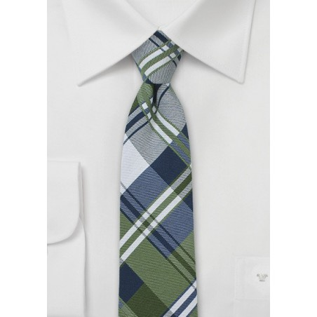 Navy, Green, and Silver Cotton Plaid Tie
