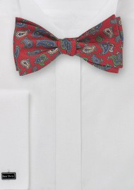 Self Tie Bow Tie with Vintage Paisley Print