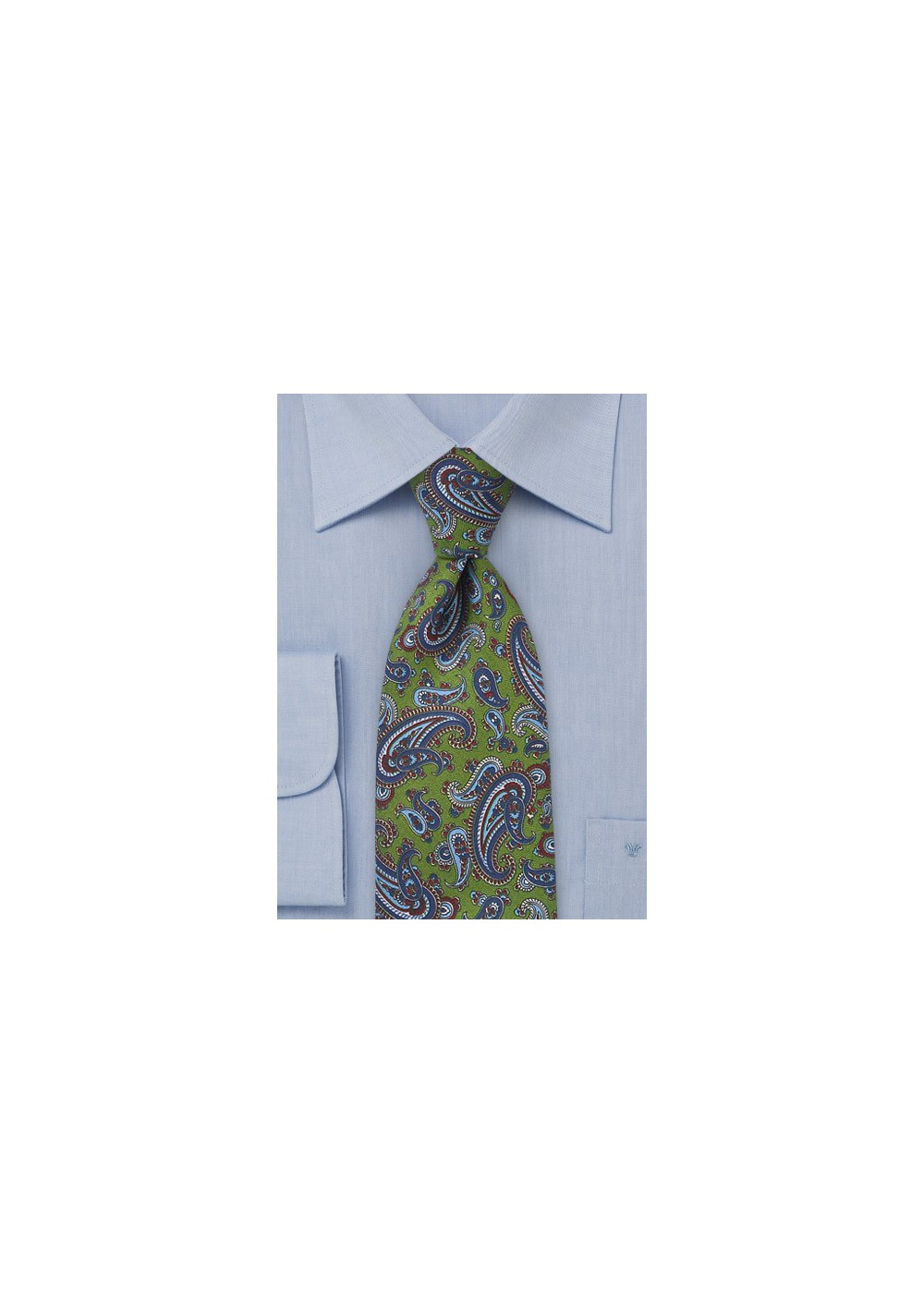 Classic Green Silk Tie with Blue Paisley Print