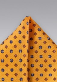 Amber Gold Floral Pocket Square