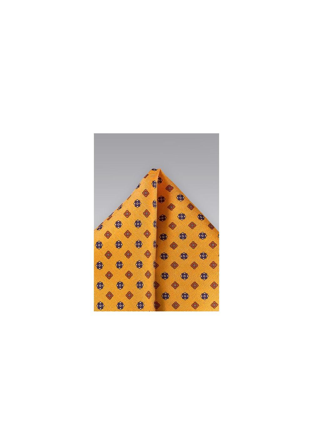 Amber Gold Floral Pocket Square