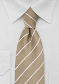 Beige Striped Tie for Kids