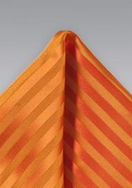 Bright Orange Pocket Square with Stripe Design