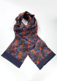 Elegant Silk Scarf for Men with Floral Pattern