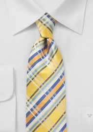 Sun Yellow and Blue Silk Plaid Tie