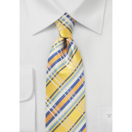 Sun Yellow and Blue Silk Plaid Tie