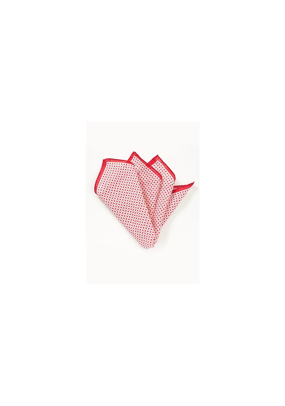 Linen Pocket Square in Red and White